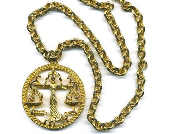 "Vintage Pauline Rader Libra Necklace Goldtone Pendant on Heavy Ornate Chain 27"" Long Signed"