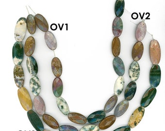 Genuine Ocean Jasper Faceted Beads Choose 25mm Mixed Oval Shapes Full Strand