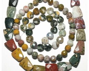 Genuine Ocean Jasper Beads Faceted 13mm Round Full Strand