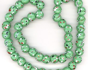 Antique Prosser Trade Beads 13mm Molded Green Glass with Dots & Snakes 49 Pcs.