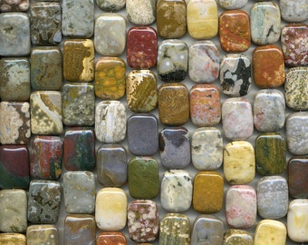 "Genuine Ocean Jasper Beads 17"" Strand Choose Rectangles or Square Good Color"