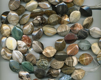 Oregon Petrified Wood 30mm Beads Dimensional Ovals Choose Your Strand