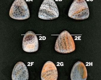 Crab Fire Agate Pendant Beads 36mm Cross Drilled AKA Spiderweb Carnelian 1 Per Lot