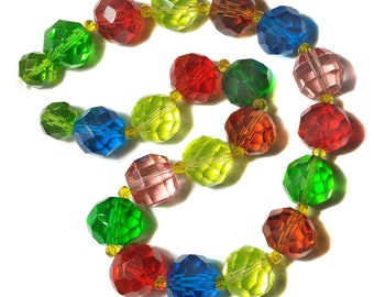 """Vintage Faceted 18mm Bead Strand Mixed Lot of Colorful Glass Some Fluoresce Under UV 17"""" Long"""