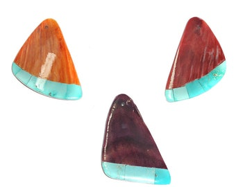 Spiny Oyster & Turquoise Pendant Beads 37mm Long Inlaid Stone Choose Orange, Purple or Red Shell