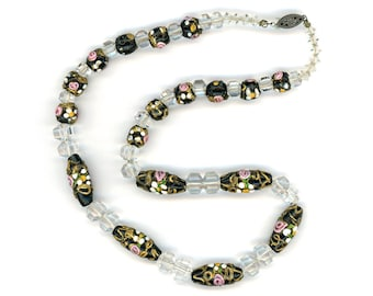 "Antique Black Venetian Bead Necklace Unusual Crystal Spacers 17"" Total Length"