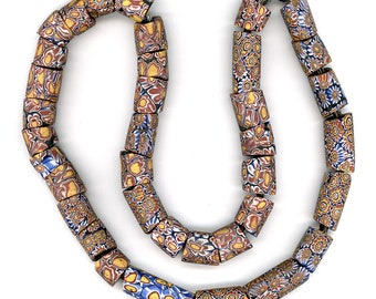 """Antique Venetian Trade Beads Mixed Strand 24"""" Long with 37 Pcs."""