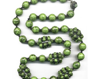 """Vintage Miriam Haskell Green Picasso Bead 30"""" Necklace Signed Clasp"""