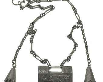 Antique Chinese Ornate Lock Necklace Rectangular Shape Intricate Chain with Tassels & Bells