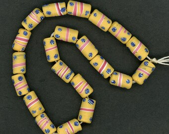 Antique Venetian Trade Beads Soft Yellow w/ Pink Ribbons & Blue and White Swirls 21 Pcs.