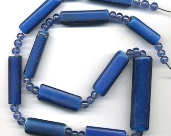 Nueva Cadiz Trade Beads 31mm - 64mm Blue Glass Rectangles 11 Pc. Strand