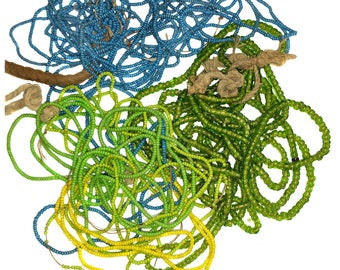 Vintage & Antique Trade Seed Bead Lot 3 oz Assorted Mix of Green, Blue and Yellow