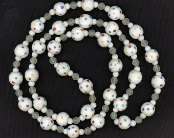 Antique Prosser Trade Beads 12mm Molded White Glass with Multi Color Dots 33 Pcs