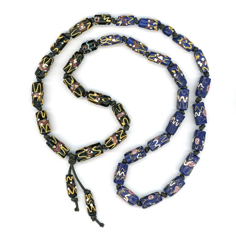 Antique Venetian Trade Beads Black and Blue Fancy Wedding Cake 32 Long