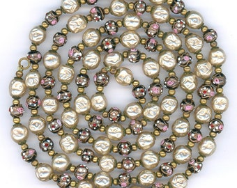 """Vintage Venetian Fiorato Beads 8mm Black Wedding Cakes & Glass Pearls 51"""" Necklace"""