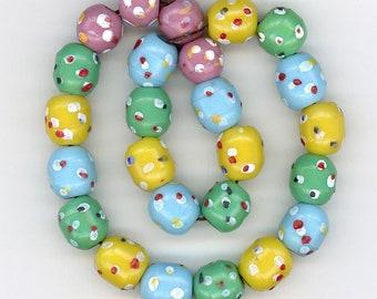 Antique Prosser Trade Beads 12mm Pink, Green, Blue & Yellow Mix w/ Dots 25 Pcs.