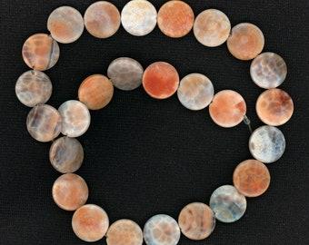 "Crab Fire Agate Beads 15mm Flat Rounds 15"" Strand AKA Spiderweb Carnelian"