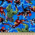 Marvel Comics United Blue Cotton Woven fabric by the yard sewing quilting