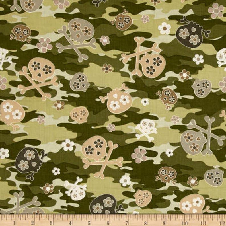 Cool Girl Camo Skulls  Kanvas / Benartex cotton woven fabric image 0