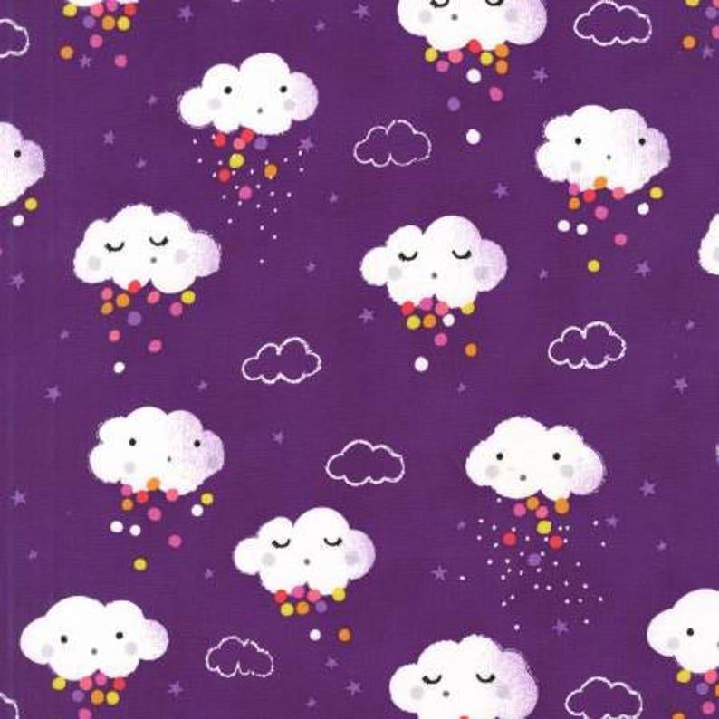 Rain Pitter Pat Showery Purple  Michael Miller  Cotton Woven image 0