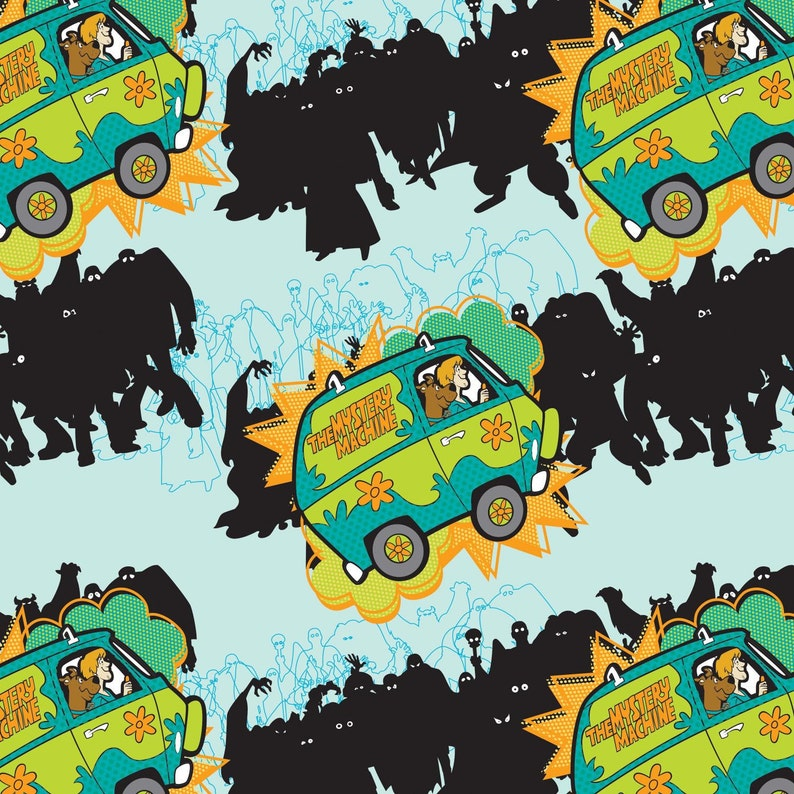 Scooby Doo Mystery Machine Aqua Camelot Cotton Woven BTY image 0