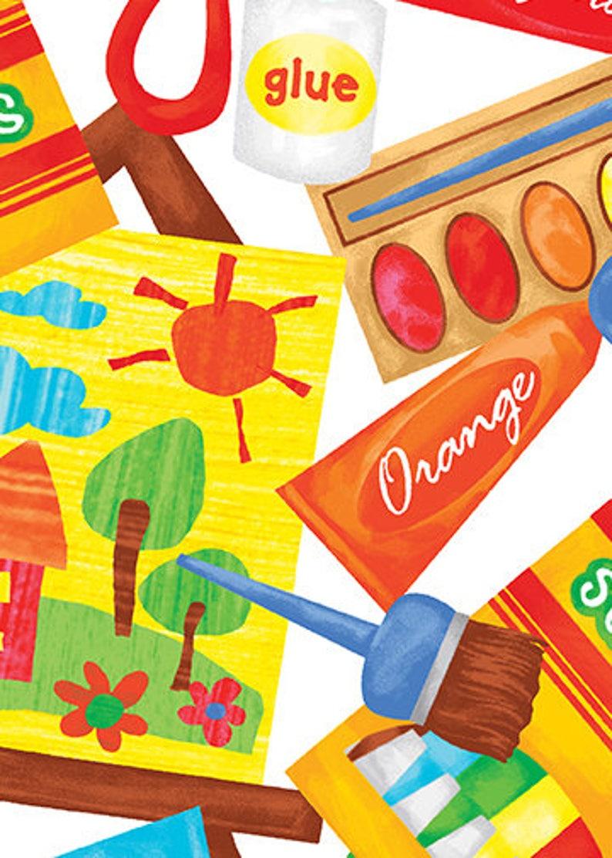 Art Class Art Supplies  Kanvas / Benartex cotton woven fabric image 0