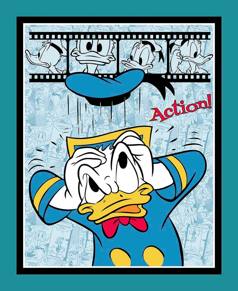Donald Duck Film Strip Disney PANEL sewing quilting cotton image 0