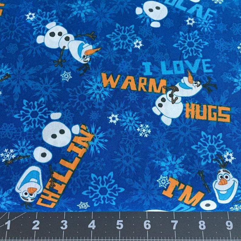 Disney Frozen Olaf Chillin Snowflake Blue Cotton Woven fabric image 0