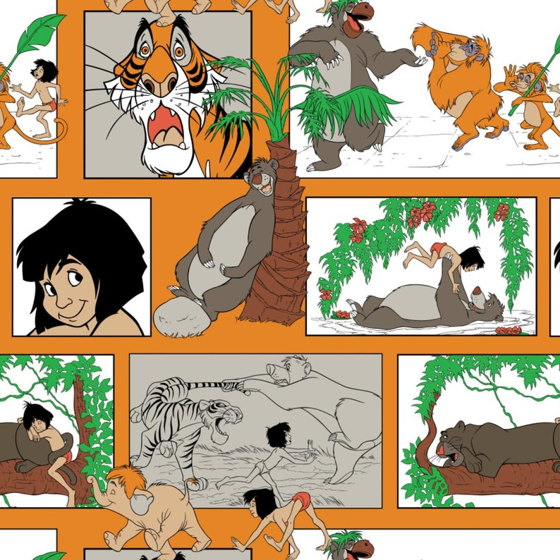 Jungle Book Blocks Orange Camelot Cotton Woven BTY image 0