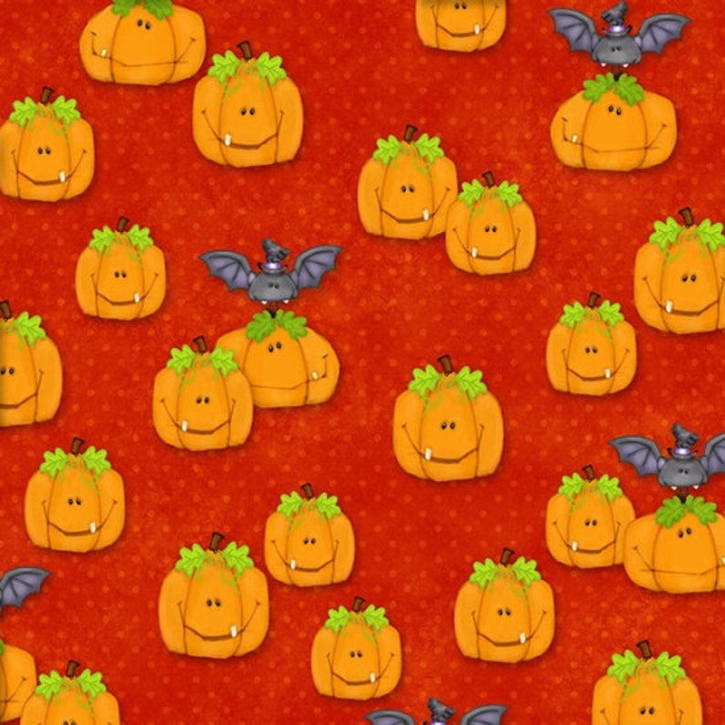 The Count Orange Pumpkins  Henry Glass cotton woven fabric by image 0