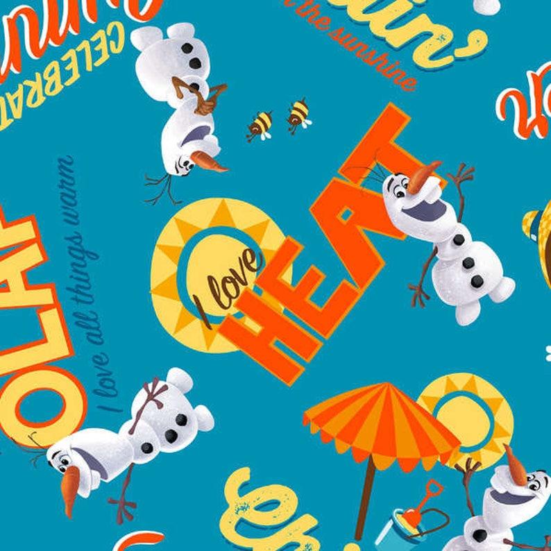 Disney Frozen Olaf Chillin I Love Heat Blue cotton woven BTY image 0