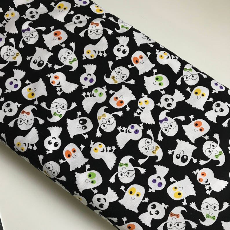 Slime Time Ghosts Black   Studio E cotton woven fabric by the image 0