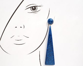 Resin Triangle Drop Earrings. Large long chandelier facet geometric statement dangle resin earrings in Sapphire Blue Glitter.