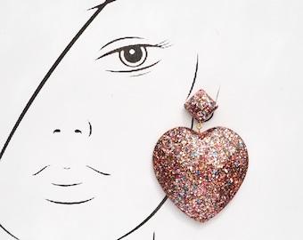 Resin Heart Shaped Earrings.Large long chandelier drop facet geometric statement dangle resin earrings in Multi Pink Glitter.