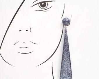 Resin Triangle Drop Earrings. Large long chandelier facet geometric statement dangle resin earrings in Fine Graphite Grey Glitter