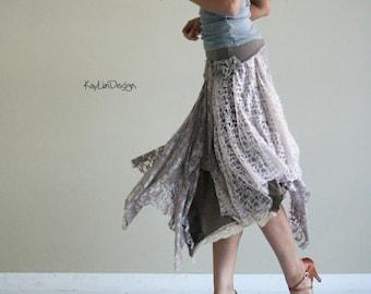 bohemian style lace skirt / jersey skirt / layered skirt / beach skirt / boho chic lace skirt - KS098