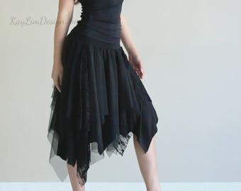 black skirt / black lace skirt / bohemian style lace skirt / jersey skirt / layered skirt / boho chic lace skirt / black tulle - KS101