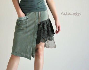 Military skirt / asymmetrical skirt / mini skirt / lace skirt / tattered skirt / army green skirt / military twill skirt - KS106