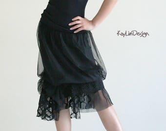 black skirt / black lace skirt / jersey skirt / layered skirt / lace skirt / black tulle / bubble skirt - KS102