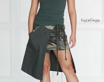 Military skirt / asymmetrical skirt / mini skirt / apron skirt / dark gray skirt /twill skirt / camouflage skirt / wrap skirt - KS105