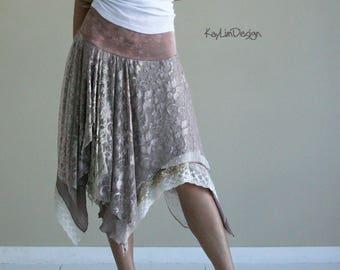 bohemian style lace skirt / jersey skirt / layered skirt / beach skirt / boho chic lace skirt - KS099