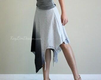 Gray skirt / gradient skirt / bohemian style skirt / jersey skirt / layered skirt / beach skirt / boho chic lace skirt - KS103