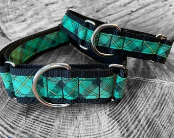 St. Patrick's Day Plaid Martingale Dog Collar,  Training dog collar, Greyhound dog collar. Dog collars for sighthounds.