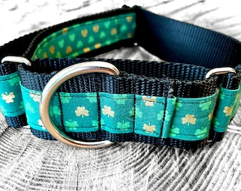 Lucky Leaves Martingale Dog Collar,  Training dog collar, Greyhound dog collar. Dog collars for sighthounds.
