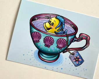 Teacup Flounder - The Little Mermaid Postcard