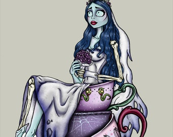 Teacup Emily - The Corpse Bride A4 Art Print by Hungry Designs