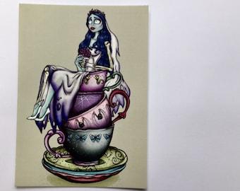 Teacup Emily - The Corpse Bride - Postcard