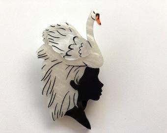 White Swan Girl - Laser Cut Acrylic Brooch