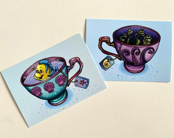 Teacup Unfortunate Souls & Teacup Flounder - The Little Mermaid Postcards - SET OF TWO Postcards