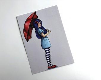 Red Umbrella Girl - Postcard
